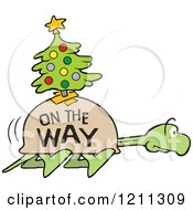 Cartoon Of A Slow Tortoise With On The Way And A Christmas Tree On His Shell Stretching His Neck And Walking Royalty Free Vector Clipart by Johnny Sajem