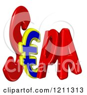 Clipart Of A 3d SEPA With A Euro Symbol Royalty Free CGI Illustration by MacX