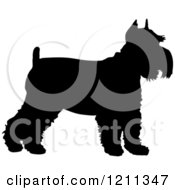 Clipart Of A Black Silhouetted Schnauzer Dog In Profile Royalty Free Vector Illustration
