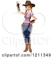Cartoon Of A Friendly Cowgirl Waving Royalty Free Vector Clipart by peachidesigns