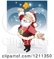 Clipart Of Santa Ringing A Bell With Magic Lights Royalty Free Vector Illustration by David Rey