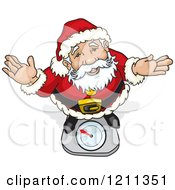 Cartoon Of Santa Shrugging And Looking Up While Standing On A Scale Royalty Free Vector Clipart