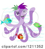 Happy Purple Octopus With Fish Over Waves