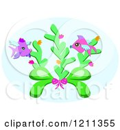 Cartoon Of A Bow With Sea Weed And Winged Fish Royalty Free Vector Clipart by bpearth