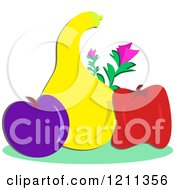 Cartoon Of A Plum Squash And Bell Pepper With Flowers Royalty Free Vector Clipart by bpearth