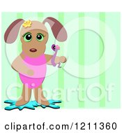 Cartoon Of A Dog Girl With A Snake Over Green Stripes Royalty Free Vector Clipart by bpearth