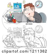 Outlined And Colored Happy Businessman Talking On A Phone And Using A Laptop In An Office