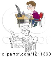 Outlined And Colored Man Working At A Computer Desk With A Cup Of Tea