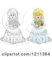 Cartoon Of An Outlined And Colored Beautiful Bride With Her Bouquet Royalty Free Vector Clipart by Alex Bannykh