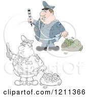 Cartoon Of An Outlined And Colored Police Officer Waving A Baton By A Bag Of Money After Chasing Away A Robber Royalty Free Vector Clipart by Alex Bannykh