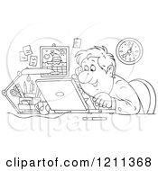 Outlined Happy Businessman Talking On A Phone And Using A Laptop In An Office