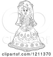 Cartoon Of An Outlined Beautiful Bride With Her Bouquet Royalty Free Vector Clipart