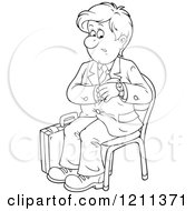 Cartoon Of An Outlined Businessman Checking His Watch And Waiting For An Appointment Royalty Free Vector Clipart