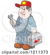 Cartoon Of A Chubby Mechanic Man Holding A Tool Box And Wrench Royalty Free Vector Clipart