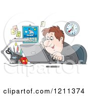 Cartoon Of A Happy Caucasian Businessman Talking On A Phone And Using A Laptop In An Office Royalty Free Vector Clipart by Alex Bannykh