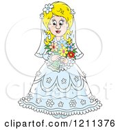 Cartoon Of A Beautiful Blond Bride With Her Bouquet Royalty Free Vector Clipart