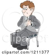Cartoon Of A Businessman Checking His Watch And Waiting For An Appointment Royalty Free Vector Clipart
