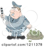 Cartoon Of A Police Officer Waving A Baton By A Bag Of Money After Chasing Away A Robber Royalty Free Vector Clipart