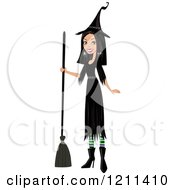 Cartoon Of A Pretty Black Haired Witch Holding A Broom Royalty Free Vector Clipart by peachidesigns