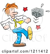 Cartoon Of An Angry Man Kicking A Battery Royalty Free Vector Clipart