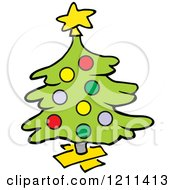 Cartoon Of A Christmas Tree On A Wood Stand Royalty Free Vector Clipart by Johnny Sajem