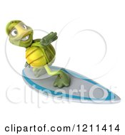 Clipart Of A 3d Tortoise Surfing 3 Royalty Free CGI Illustration