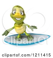 Clipart Of A 3d Tortoise Surfing 2 Royalty Free CGI Illustration