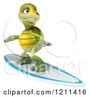 Clipart Of A 3d Tortoise Surfing Royalty Free CGI Illustration