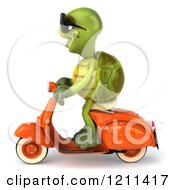 Clipart Of A 3d Tortoise Wearing Sunglasses And Riding A Scooter Royalty Free CGI Illustration
