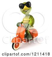 Clipart Of A 3d Tortoise Wearing Sunglasses And Riding A Scooter 2 Royalty Free CGI Illustration