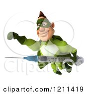 Clipart Of A 3d Super Hero Man In A Green Costume Flying With A Vaccine Syringe Royalty Free CGI Illustration