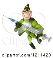 Clipart Of A 3d Super Hero Man In A Green Costume Flying With A Vaccine Syringe 2 Royalty Free CGI Illustration