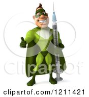 Clipart Of A 3d Super Hero Man In A Green Costume Holding A Thumb Up And Vaccine Syringe Royalty Free CGI Illustration