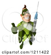 Clipart Of A 3d Super Hero Man In A Green Costume Holding A Thumb Up And Vaccine Syringe 2 Royalty Free CGI Illustration