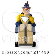 Clipart Of A 3d Super Hero Man In A Blue And Yellow Costume Pushing Boxes On A Dolly Royalty Free CGI Illustration