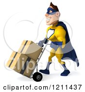 Clipart Of A 3d Super Hero Man In A Blue And Yellow Costume Pushing Boxes On A Dolly 2 Royalty Free CGI Illustration