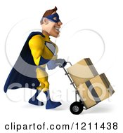Clipart Of A 3d Super Hero Man In A Blue And Yellow Costume Pushing Boxes On A Dolly 3 Royalty Free CGI Illustration