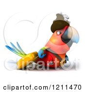 Clipart Of A 3d Pirate Macaw Parrot Bird Pulling A Rolling Suitcase Royalty Free CGI Illustration