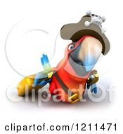 Clipart Of A 3d Pirate Macaw Parrot Bird Pulling A Rolling Suitcase 2 Royalty Free CGI Illustration