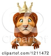 Clipart Of A 3d Lion King Over A Sign Royalty Free CGI Illustration