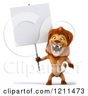 Clipart Of A 3d Lion Roaring Holding A Sign Royalty Free CGI Illustration