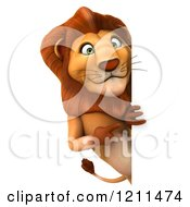 Clipart Of A 3d Lion Pointing Looking Around And Pointing To A Sign Royalty Free CGI Illustration