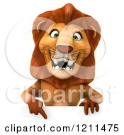 Clipart Of A 3d Lion Pointing Down To A Sign Royalty Free CGI Illustration