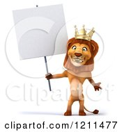 Clipart Of A 3d Lion King Holding A Sign Royalty Free CGI Illustration