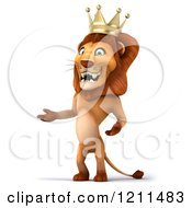 Clipart Of A 3d Lion King Presenting Royalty Free CGI Illustration