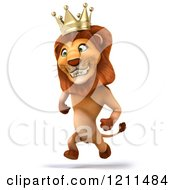 Clipart Of A 3d Lion King Running Royalty Free CGI Illustration