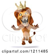 Clipart Of A 3d Lion King Running 2 Royalty Free CGI Illustration