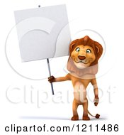 Clipart Of A 3d Lion Holding A Sign Royalty Free CGI Illustration
