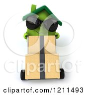 Clipart Of A 3d Green Home Mascot Wearing Sunglasses And Moving Boxes On A Dolly 2 Royalty Free CGI Illustration