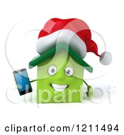 3d Christmas Green Home Mascot Holding A Cell Phone